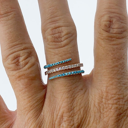Turquoise & Diamond Flow Ring