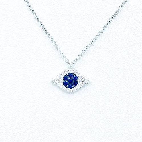 Evil Eye Diamond & Sapphire Necklace