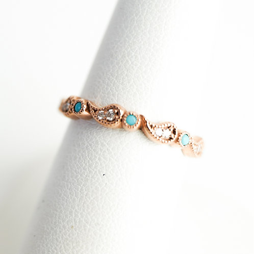 Rose Gold & Paisley Diamond Stackable with Turquoise Accent