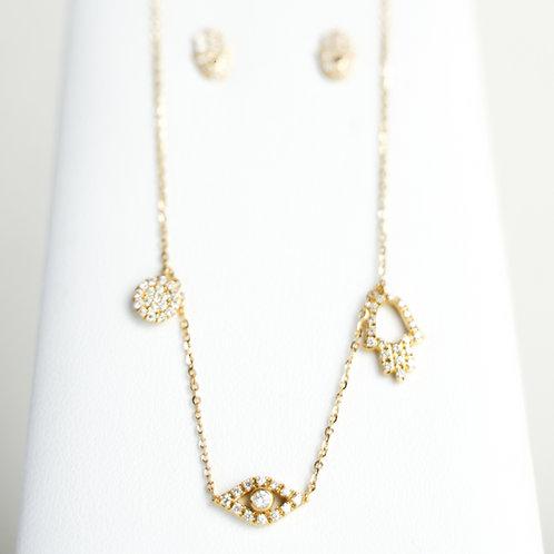 18K Gold Diamond Charm Necklace & Earrings Set