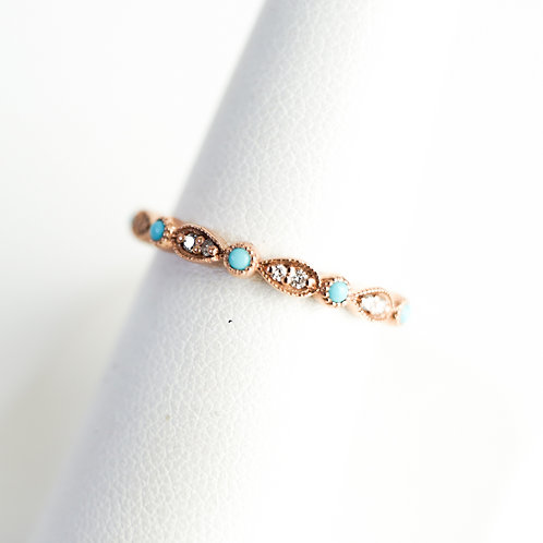 Stackable with Turquoise Accent Rose Gold Ring
