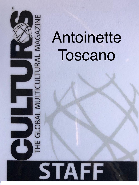 Journalist Antoinette Toscano's ID Badge at Culturs Magazine