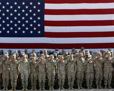 U.S. Military personnel saluting.