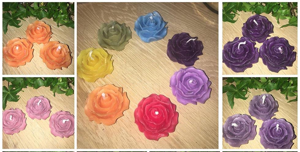 3 x Rose tea light candles, Chakra set, Gift idea