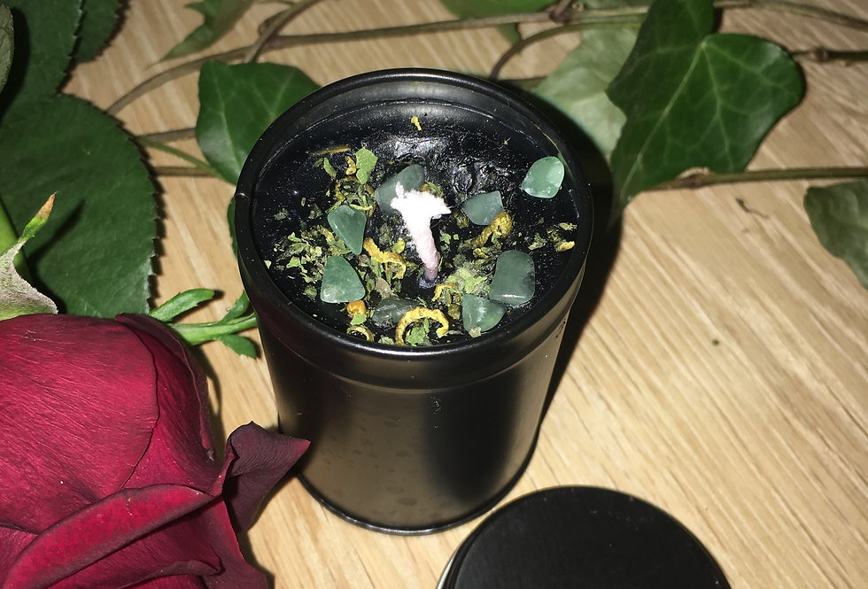 Banishing poverty and reverse bad luck spell candle in tin container with lid