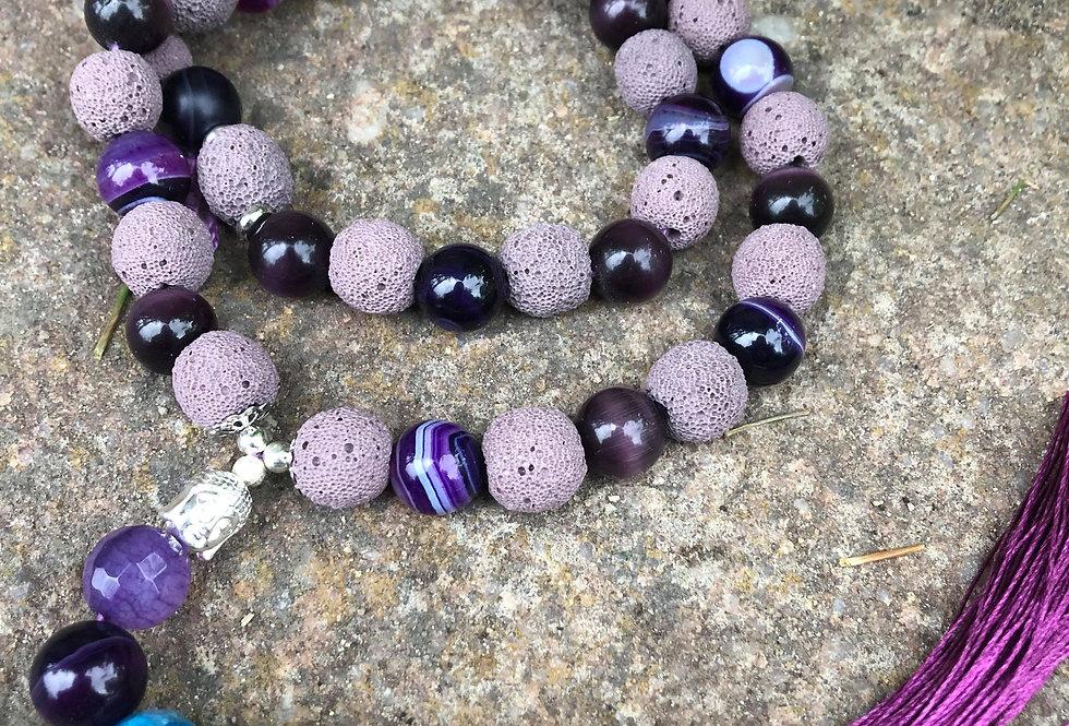 Mala praying beads with Buddha and Chakra in purple