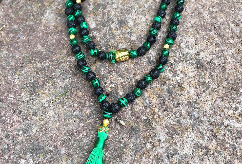 Mala Buddha Malachite praying beads with 108+ beads