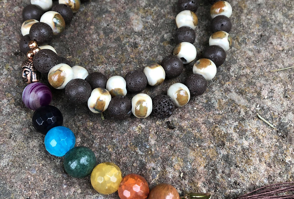 Mala praying beads with Buddha and Chakra in brown