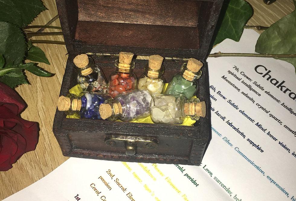 Chakra healing crystal set in treasure box a Gift idea