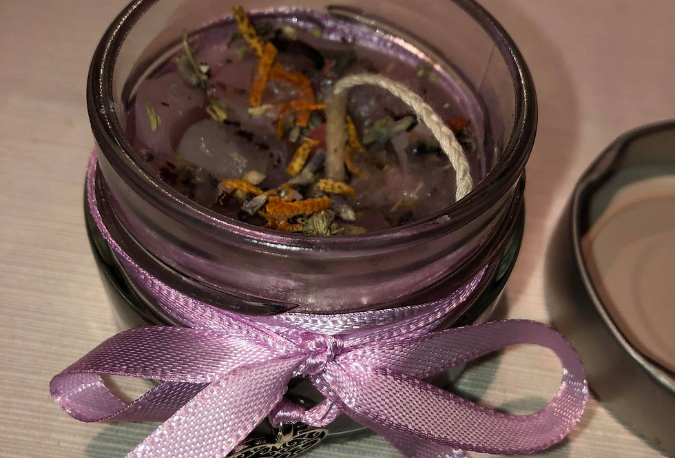 Small love spell candle to attract more love into your life, in glass jar