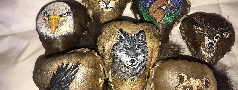 Handmade Shamanic Medicine rattle made of natural deer hide, handpainted