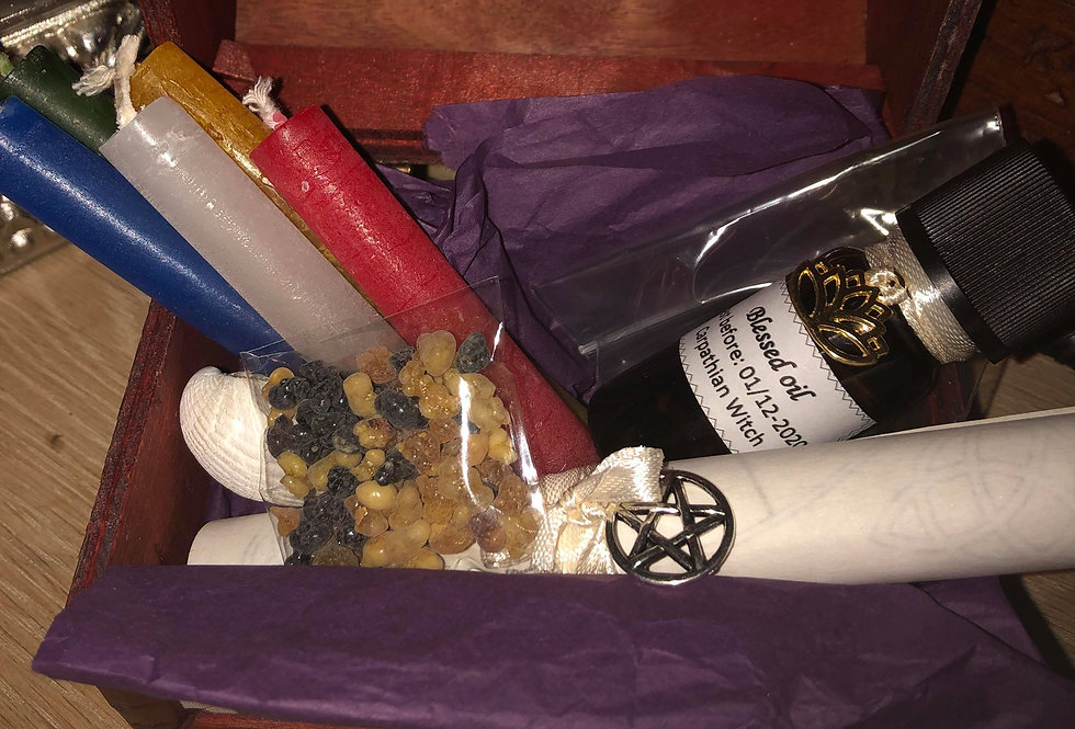 Witch Starting Altar kit - elements essentials in treasure box gift idea
