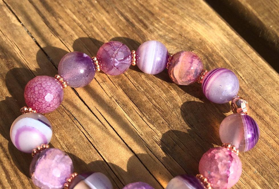 Chakra armbånd lavet af ekstra store ægte sten og krystaller