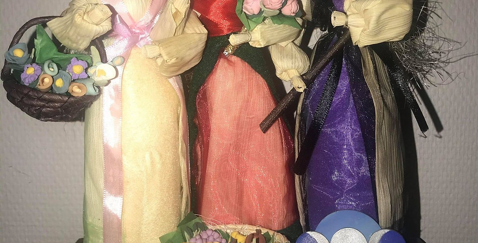 Handmade Corn dolls - statues of Triple  Moon Goddess, Hecate, Brigid and Ostara
