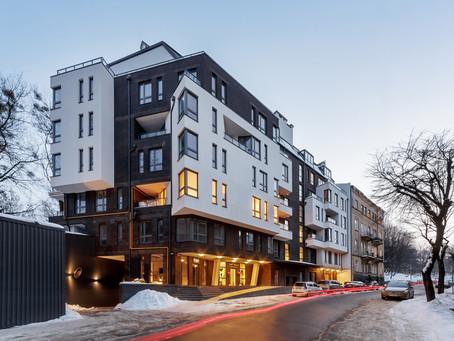 Apartment house with inbuilt underground parking at Zarytskykh street in Lviv.