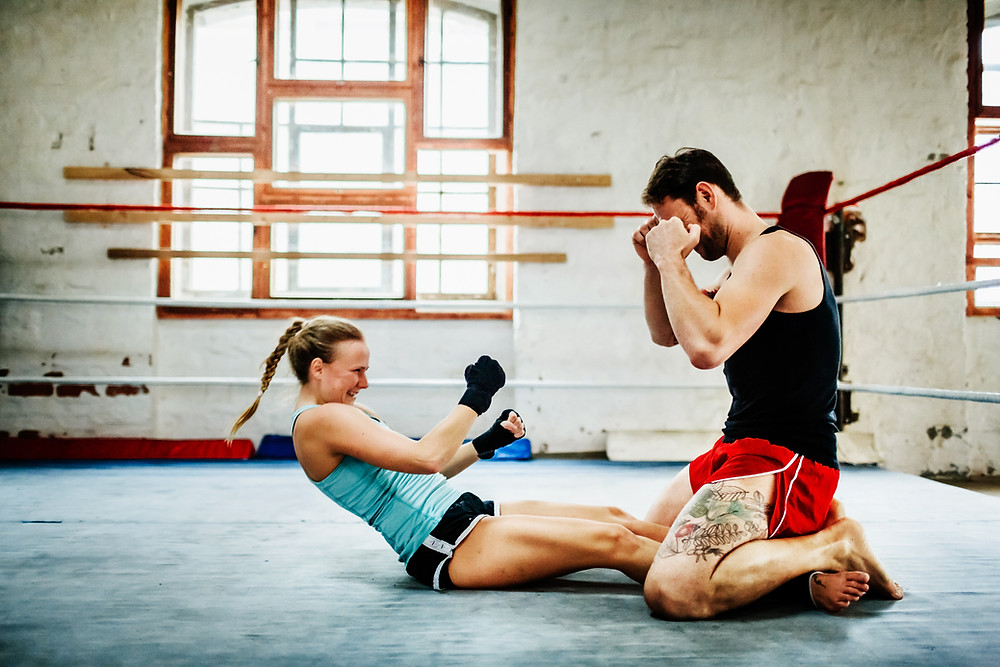 woman boxer training