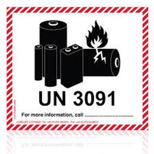 Lithium Metal Battery Labels UN 3091