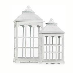 Lanterna de madeira branca