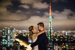 Vista espetacular do heliponto do Hotel Renaissance para registrar este casamento maravilhoso