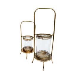 Lanterna de vidro com suporte dourado