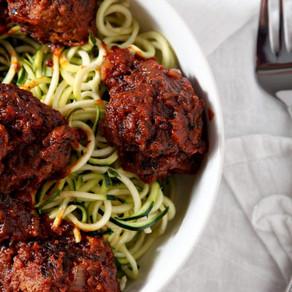 Raw Zucchini Noodles +  Meatless Meatballs