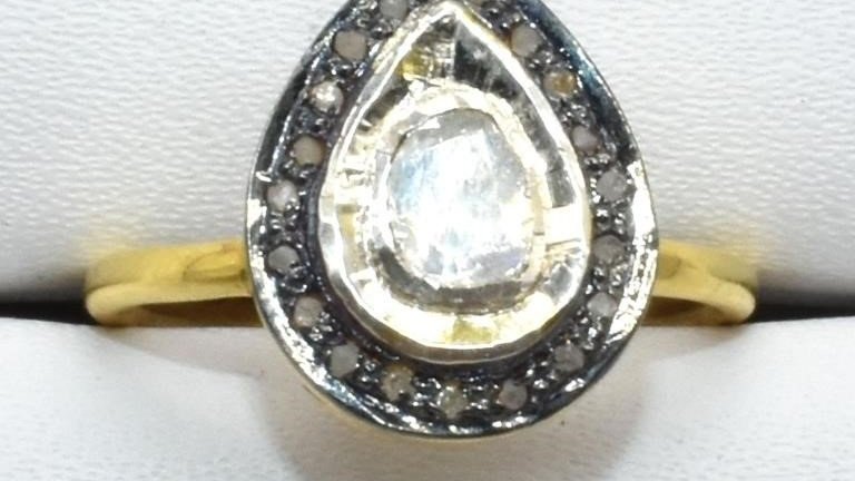 TEAR DROP DIAMOND GOLD PLATED STERLING RING