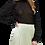 Thumbnail: OBSIDIAN SHEER MOCK NECK TOP W/ RUFFLE SLEEVES