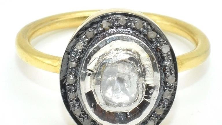 OVAL DIAMOND GOLD PLATED STERLING RING