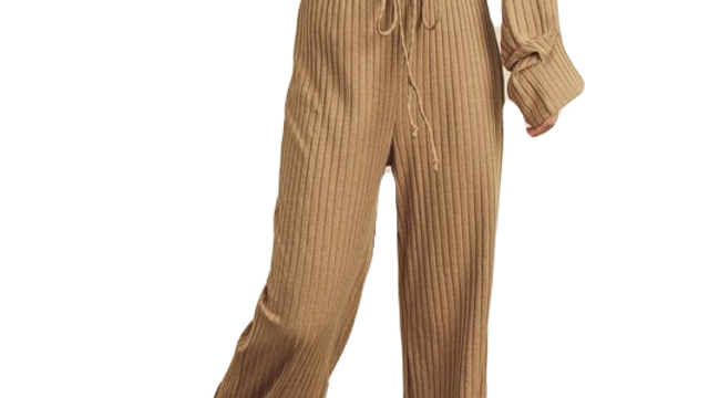 SERANDITE camel ribbed lounge pants