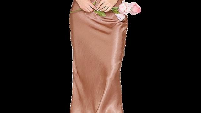 GLITTER mocha satin skirt