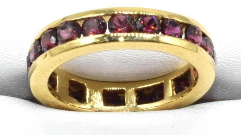 GARNET GOLD PLATED STERLING INFINITY BAND