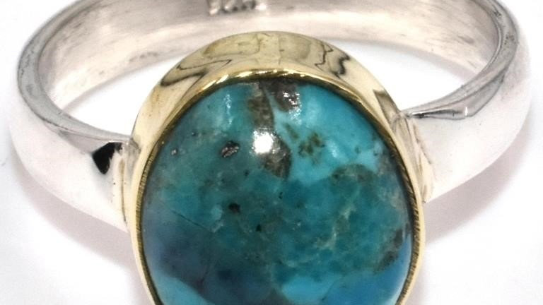 TURQUOISE TWO TONE RING