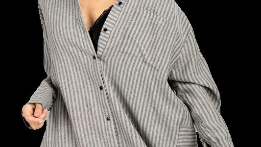 SMOKY QUARTZ grey striped thick button up