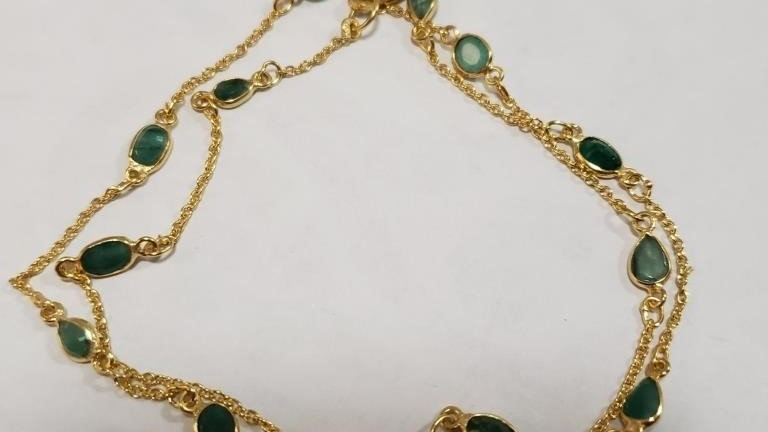 EMERALD GOLD PLATE STERLING NECKLACE