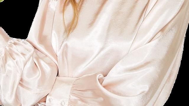 CHAMPAGNE balloon sleeve satin blouse