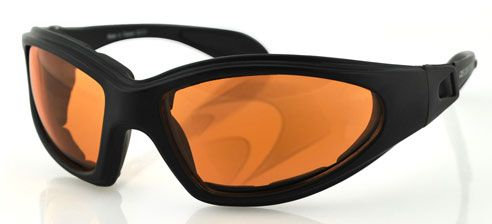 Bobster GXR Sunglasses with Strap Black w/Amber Lens