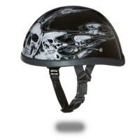 Шлем EAGLE- W/ SKULL FLAMES SILVER