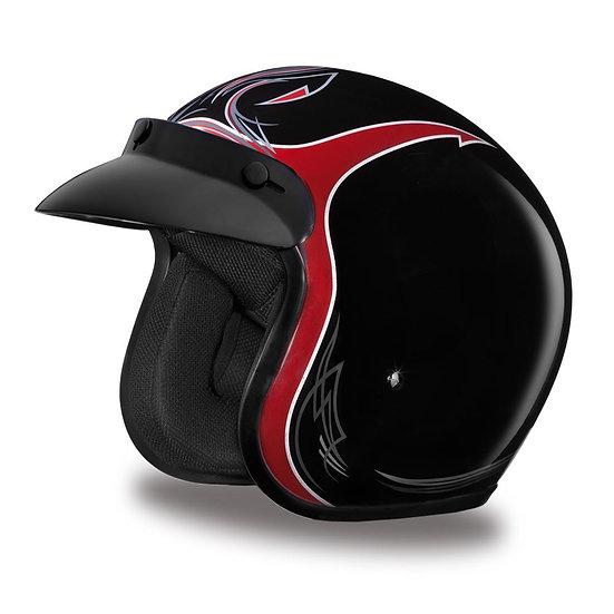 Шлем D.O.T. DAYTONA CRUISER-PINNED BLACK CHERRY