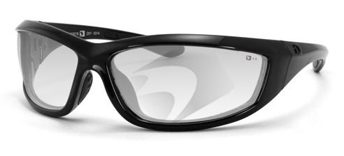Bobster Charger Sunglasses Black w/Clear Lens