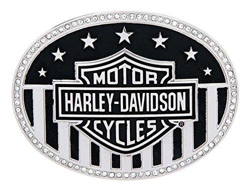 Пряжка Harley-Davidson® Womens American Bling B&S Flag with Rhinestones Buckle