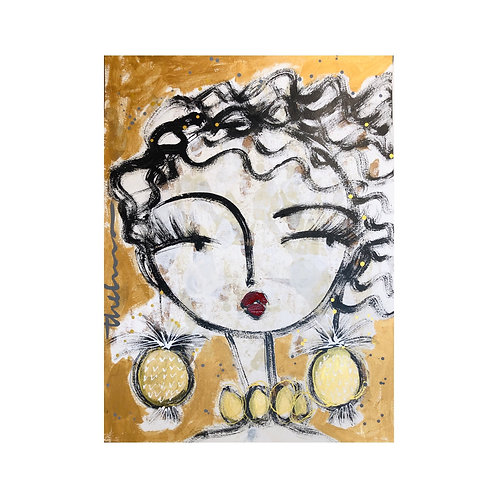 Gold Afternoon Girl II-  Original on paper