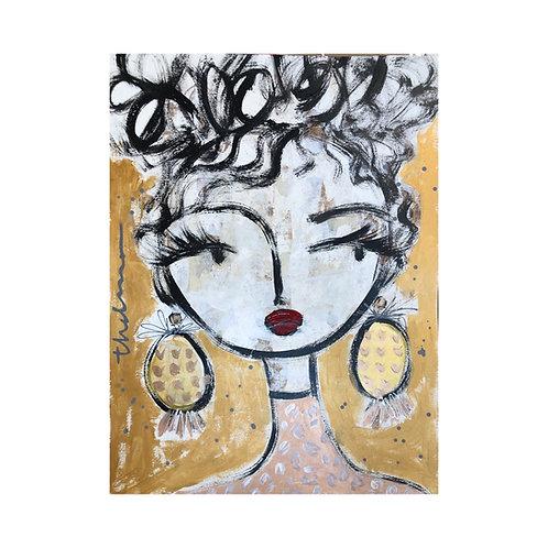 Gold Afternoon Girl I - Original on paper