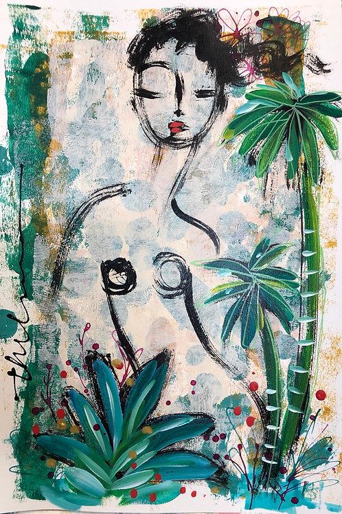 Nude in the Jungle I - Original on paper