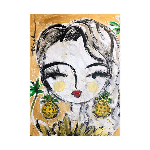 Green Palm Bay Girl II-  Original on paper