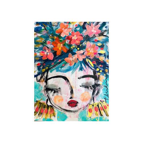 Floral girl  - Original on paper