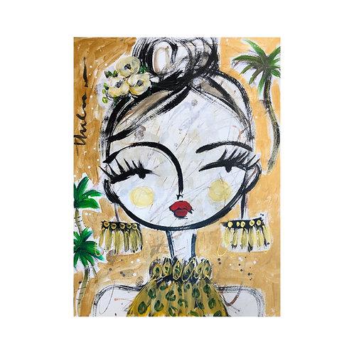 Green Palm Bay Girl I -  Original on paper