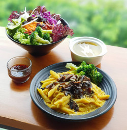 Creamy Pumpkin Pasta and Royale Salad