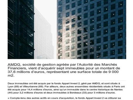 AMDG achète 7 immeubles pour 37,6 millions d'euros