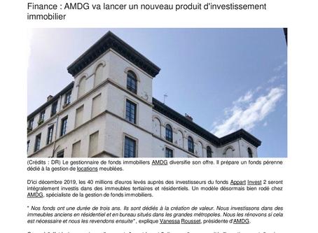 Finance : AMDG va lancer un nouveau produit d'investissement immobilier