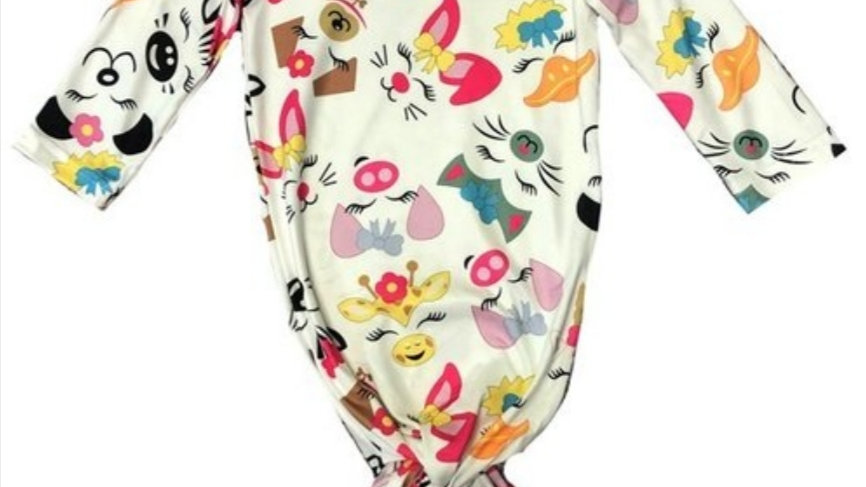 Animal Faces Baby Gown W / Headband